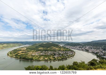 Aerial view of Boppard and river Rhine, middle Rhine Valley, Germany, Rhineland-Palatinate