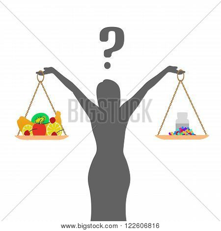 Vector illustration of a concept of healthy nutrition and diet. Pills, tablets or fruit. The woman decides what to eat. Girl with a question.