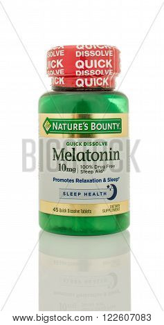 Winneconne WI - 5 March 2016: A bottle of Melatonin that is dissolveable made by Nature's Bounty.