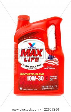 Winneconne, WI - 15 April 2015: Containter of Valvoline Max Life 10W-30 motor oil. Made special for vehicles with over 75,000 miles.