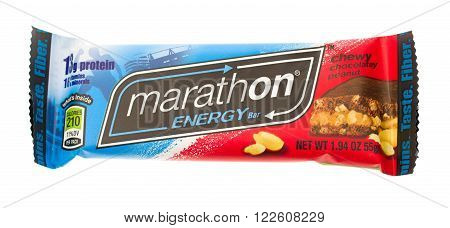 Winneconne, WI - 20 April 2015: Marathon Energy protein bar in chewy chocolatey peanut flavor.