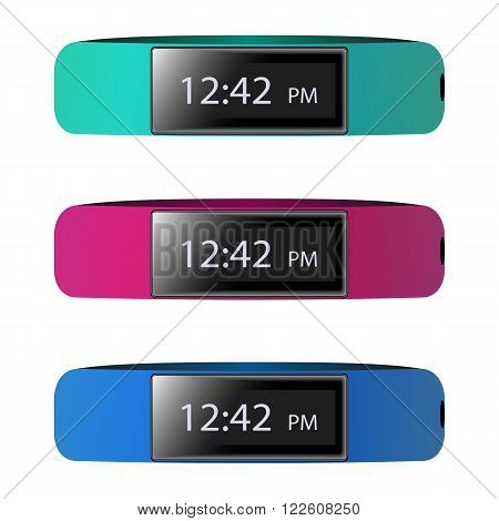 Vector illustration of fitness bracelet, smart watches, sports bracelet. poster