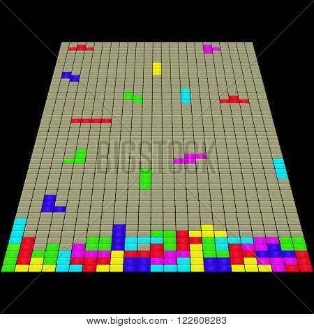 Vector illustration of 3D tetris game. Black background.