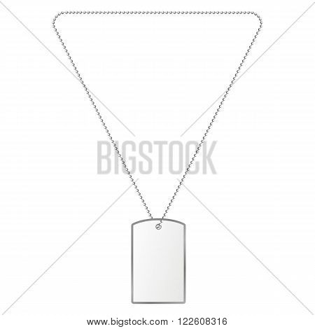 Vector illustration of silver tiles on the chain. Decoration, silver pendant.
