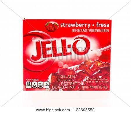 Winneconne WI - 2 May 2015: Box of Jello in strawberry flavor.