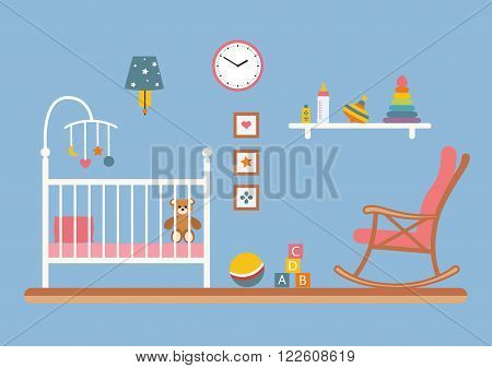 Baby room vector interior. Nursery room with cradle, chair, toys, kid dresser. Flat style illustration
