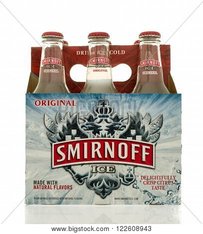 Winneconne, WI - 2 March 2016: A six pack of Smirnoff Ice in original flavor.