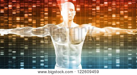 DNA Sequence with Genetics Data of a Human Male poster