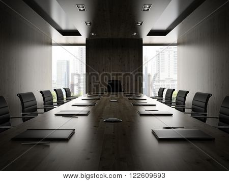 Interior of modern boardroom with black armchairs 3D rendering