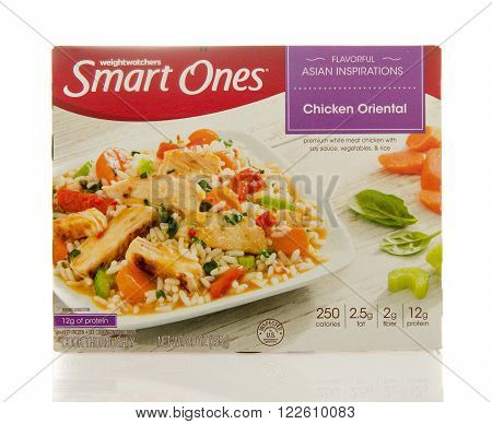 Winneconne, WI - 2 March 2016: Box of Smart ones chicken oriental meal by weightwatchers.