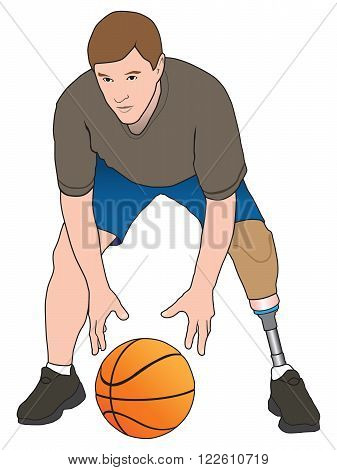Left leg amputee playing a game of basketball