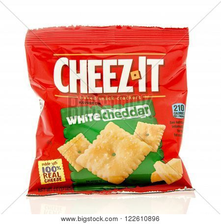 Winneconne WI - 19 Feb 2016: Bag of Cheez-it white cheddar crackers