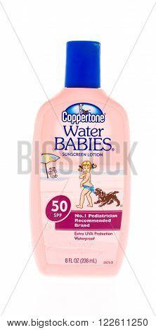 Winneconne, WI - 20 April 2015: Bottle of Coppertone sunblock.