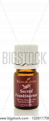 Winneconne WI - 10 Feb 2016: Bottle of Young Living sacred frankincense essential oil.
