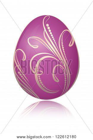 Bright Violet Easter Egg With Golden Decorative Floral Branch