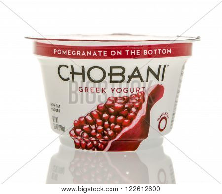 Winneconne WI - 26 Feb 2016: Container of Chobani Greek yogurt in pomegranate flavor.