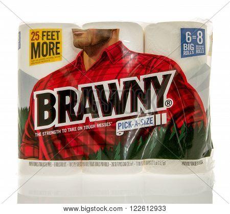 Winneconne, WI - 7 Feb 2016: Package of Brawny paper towels.