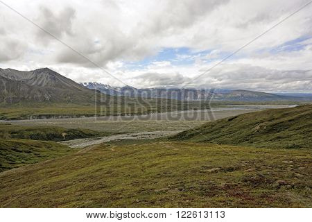 River and Hills of the Tundra Near Eielson in Denali National Park in Alaska