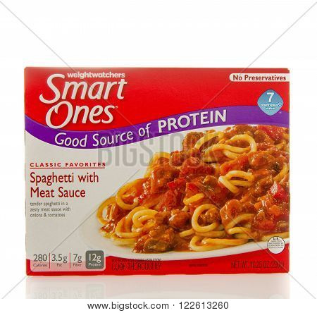 Winneconne WI - 2 March 2016: Box of Smart ones spaghetti with meat sauce meal by weightwatchers.