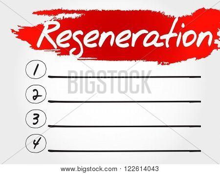 Regeneration blank list fitness sport health concept poster