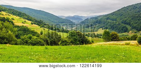 panoramic landscape with village in mountains behind the agricultural meadow with trees and flowers on hillside