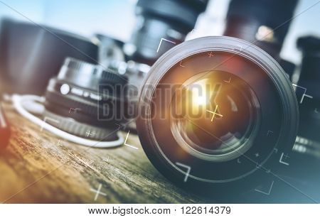 Professional Photography Equipment. Professional Photographer Work Kit. Photo Lenses.