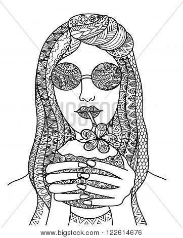 Pretty woman drinking coconut juice zentangle line art design for poster, tattoo, banner,coloring book for anti tress, t shirt design and so on - stock vector