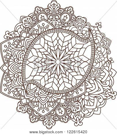 Beautiful Vintage Paisley Ornament, Mandala Can Be Used As A Greeting Card Or Decor For Henna Tattoo