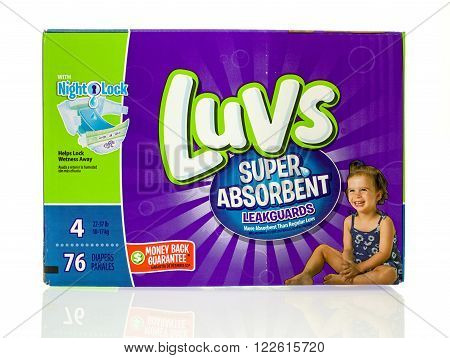 Winneconne WI - 20 Jan 2016: Box of Luvs diapers that are super absorbent.