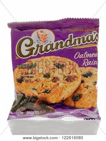 Winneconne WI - 1 March 2016: A package of Grandma's cookies in oatmeal raison flavor