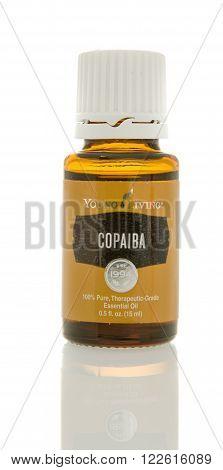 Winneconne, WI - 10 Feb 2016: Bottle of Young Living Copaiba  essential oil.