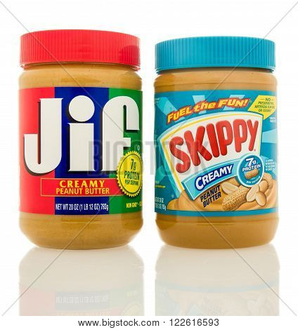 Waupun WI - 9 March 2016: Containers of Jif and Skippy peanut butter. The top two selling brands in America