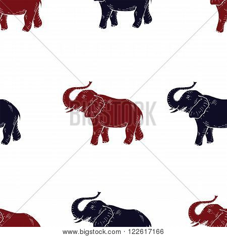 Elefant India symbol vector seamless pattern. Animal  color print