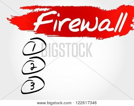 FIREWALL blank list business concept, presentation background