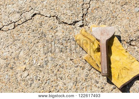hand tools for construction and demolition on concrete