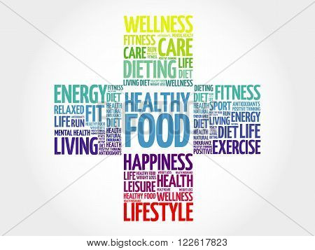 Healthy Living word cloud, health cross concept