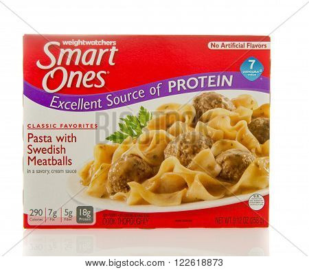 Winneconne WI - 2 March 2016: Box of Smart ones Pasta with swedish meatballs meal by weightwatchers.