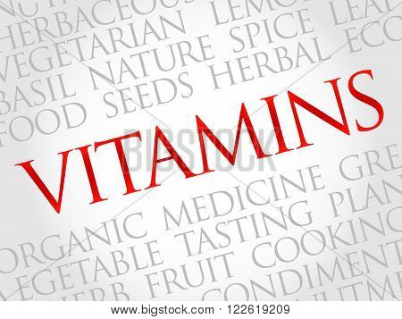 Vitamins word cloud health concept, presentation background