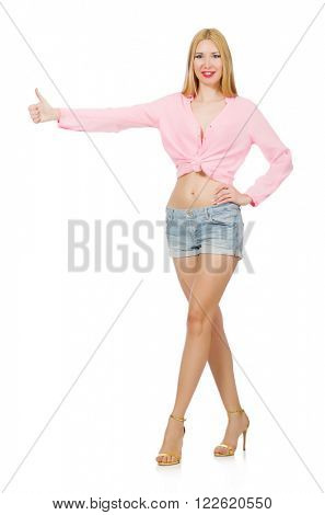 Blondie woman wearing jeans shorts isolated on white