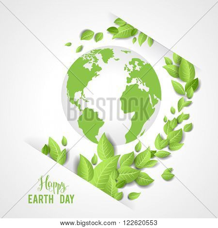 Earth day card for design banner,ticket, leaflet and so on.Template page for Earth day. Holiday card. Green globe and leaves.