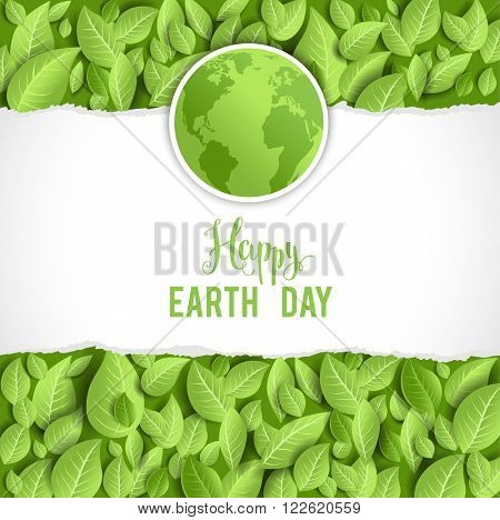 Earth day banner for design banner,ticket, leaflet and so on.Template page for Earth day. Holiday card. Green globe and leaves.