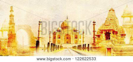 Grunge background with paper texture and landmarks of India - Taj Mahal, Qutub-Minar Tower, Lakshmana temple, Iron pillar, Amber Fort