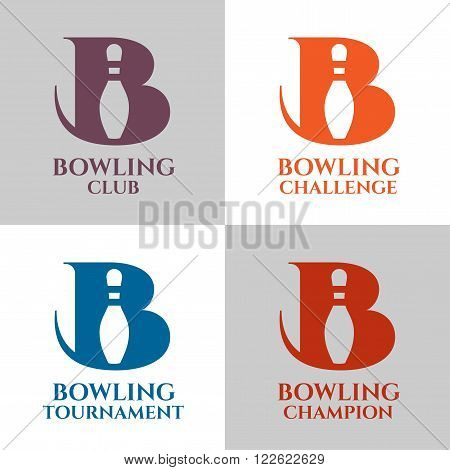 Set of bowling logo vector templates. Bowling club bowling competition bowling tournament bowling challenge
