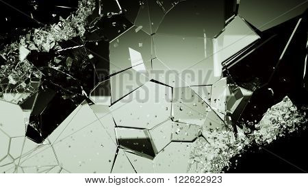 Shattered Or Cracked Glass Pieces On Black