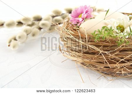 Cut Photo Shot Easter White Eggs In The Nest With Flowers