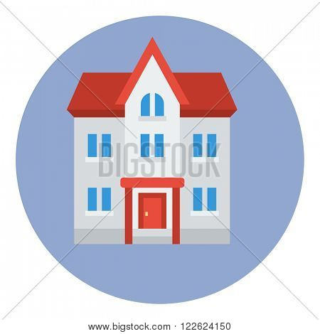 Flat style round banner with facade of a classically built three-storeyed house with a triangular roof isolated concept vector illustration