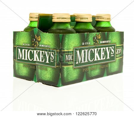 Winneconne WI - 15 March 2016: A six pack of Mickeys beer
