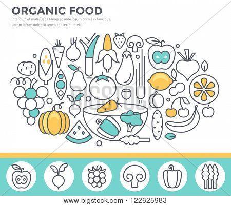 Organic food concept illustration, thin line flat design