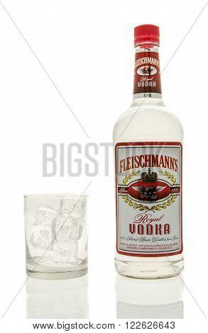 Winneconne WI - 15 March 2016: A bottle of Fleischmann's vodka with a glass of ice