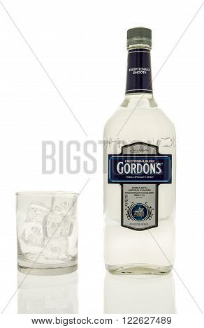 Winneconne WI - 15 March 2016: A bottle of Gordon's vodka with a glass of ice